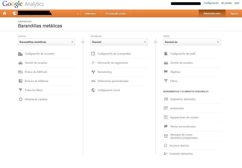 Pantallazo de Google Analytics en informes panel de administrador