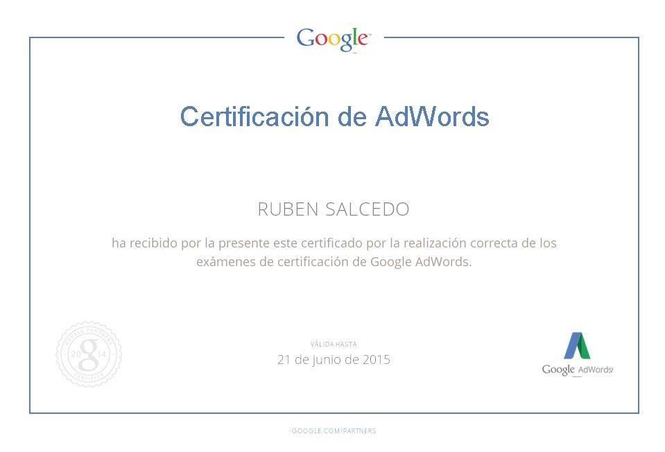 Socio certificado de Google Adwords de Rubén Salcedo